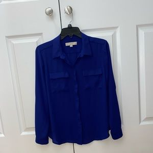 Blue Loft Button Up Blouse